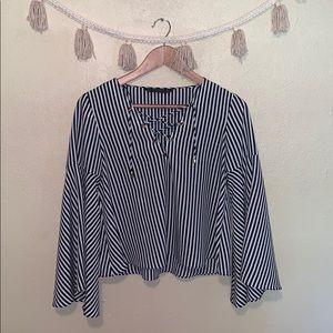 Zara Striped Bell Sleeve Blouse